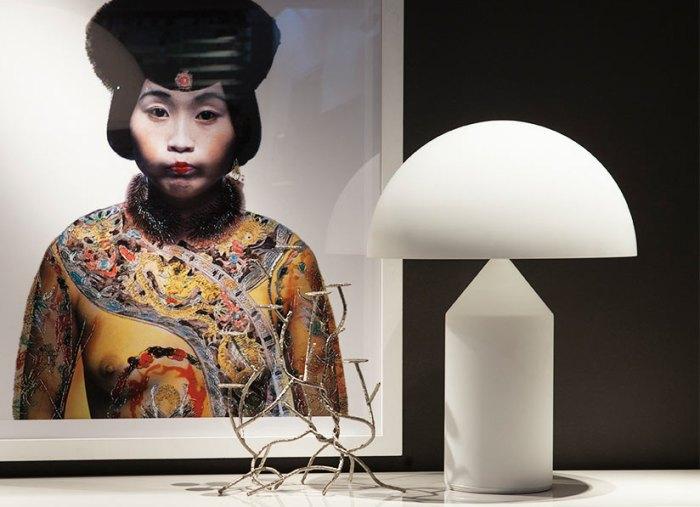 Atollo Magistretti lampe blanche olluce