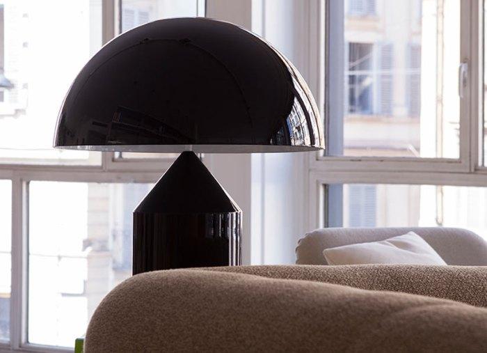 Atollo Magistretti lampe noir Olluce
