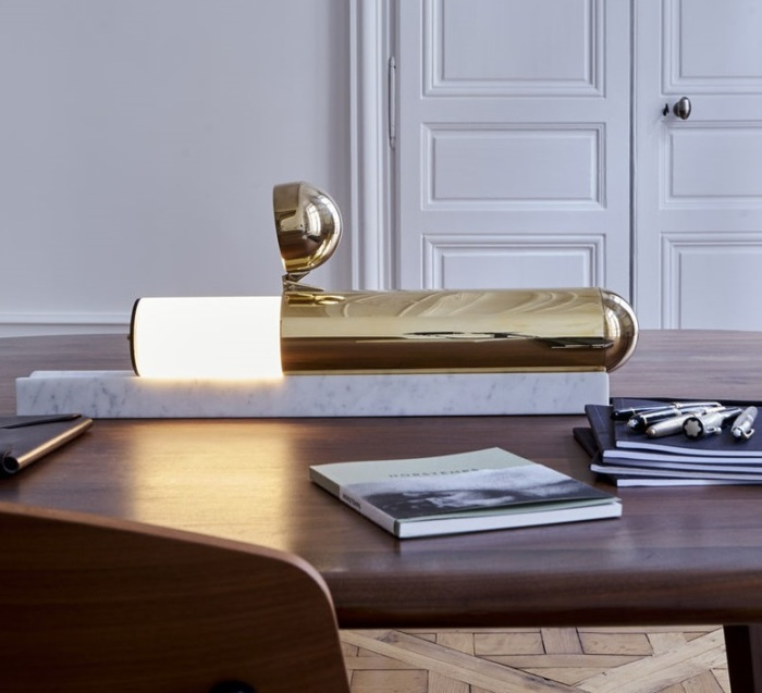 LAMPE À POSER, ISP TABLE, BLANC, OR, LED, 2700K, L55,5CM, H12CM - DCW EDITIONS