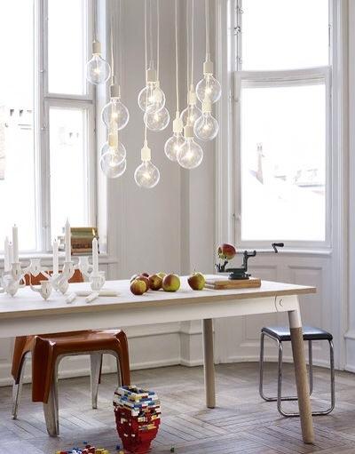 Suspension blanche ampoule cuisine