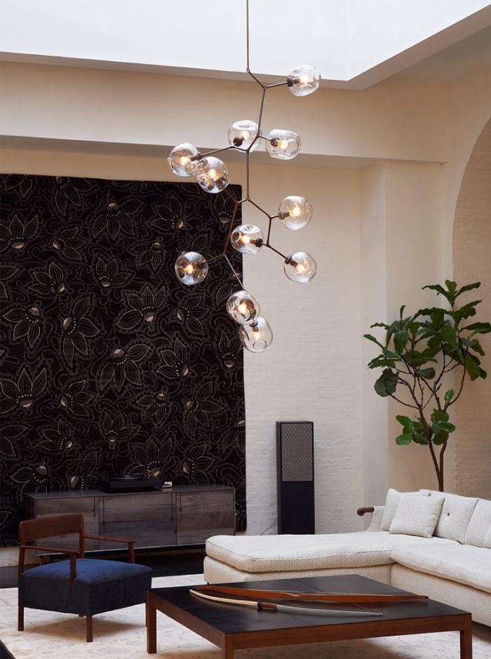 lindsey adelman lustre design salon verre souffle luminaire fait main