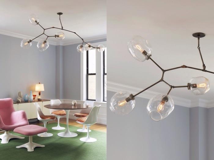 lustre branching buble lindsey adelman luminaire de couloir, luminaire salle a manger verre souffle, laiton