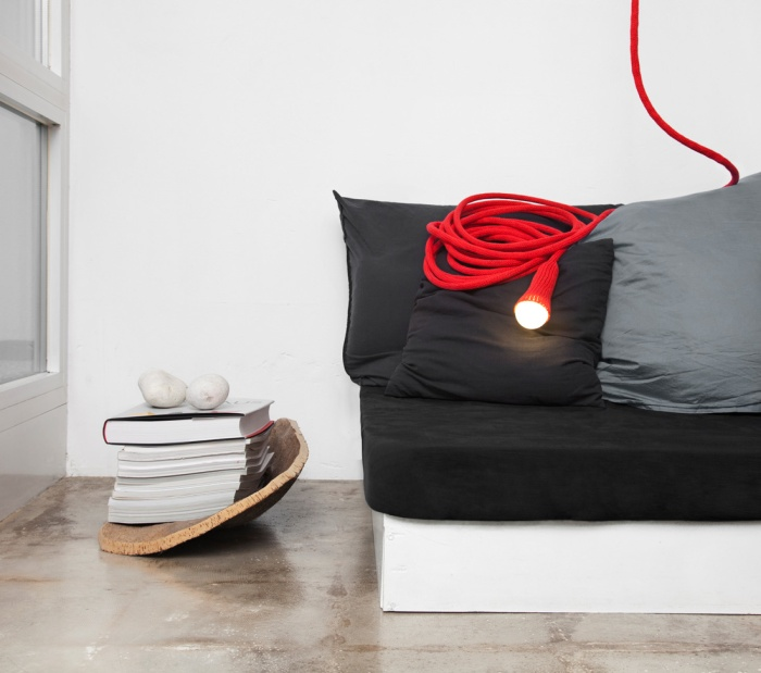 LLOT LOV LAMPE BALADEUSE SUSPENSION LAINE MATT rouge