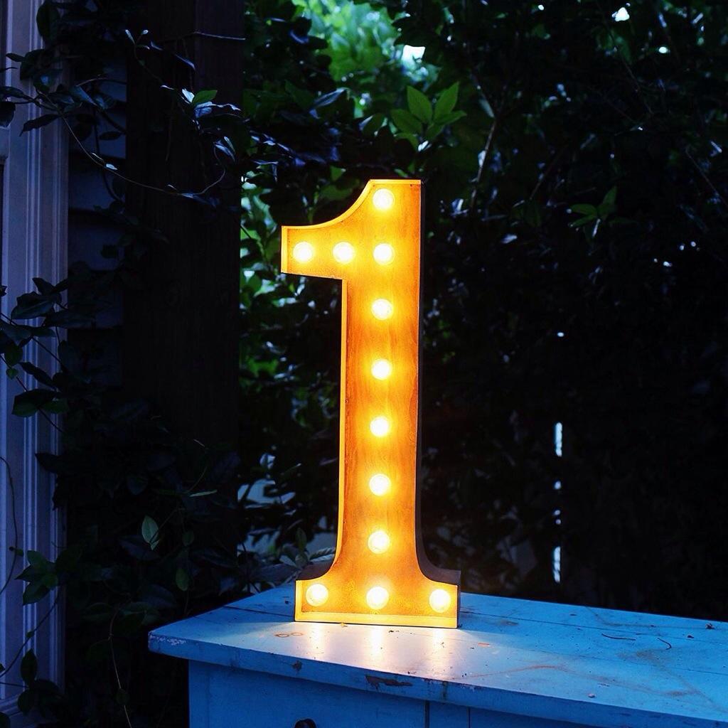 delighfull lampe chiffre numero 1 applique neon retro vintange