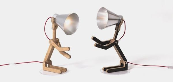 Lampe à poser, Waaf, aluminium, chêne, H45cm - Structures