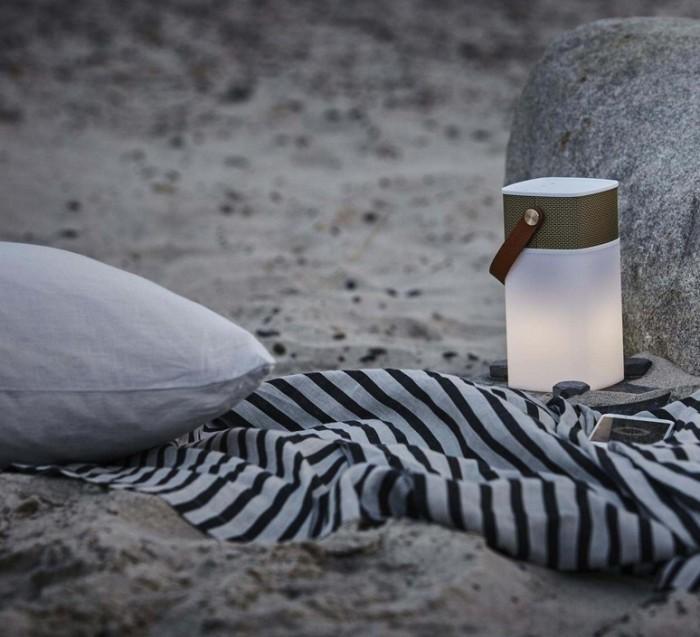 Lampe, haut-parleur, sans fil, d'extérieur, aGlow, LED, blanc, or, H19cm - Kreafunk
