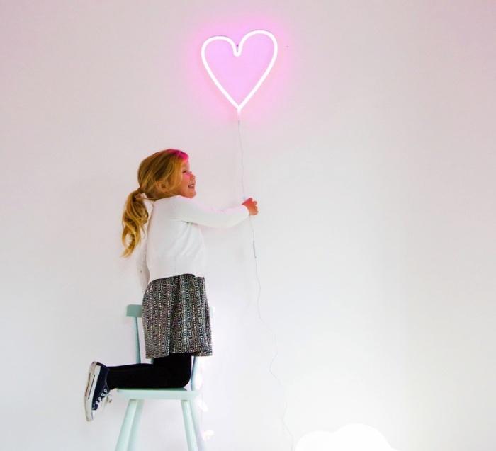 Applique enfants, Neon Heart, coeur, rose, H30cm - A Little Lovely Company