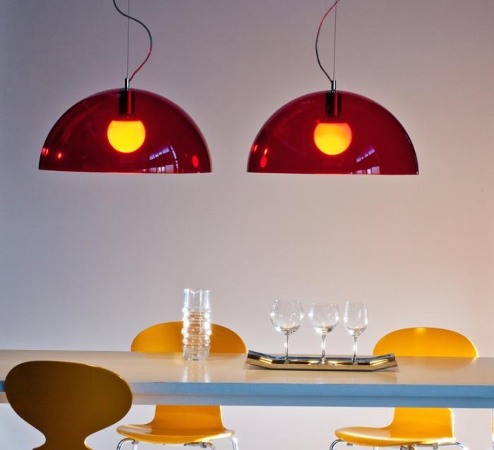 Suspension, BUBBLES, rouge, Ø55cm - Martinelli-luce