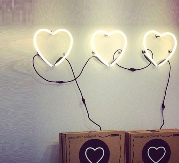 Lampe typographe Néon Art Coeur J'aime de Seletti