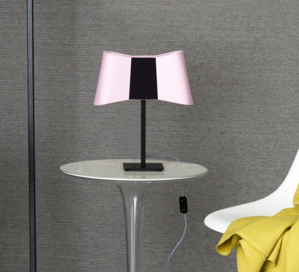 Lampe à poser, Couture, rose, noir, H39cm - Designheure