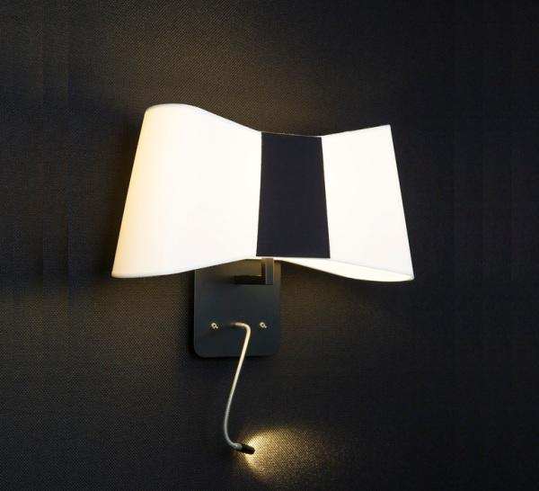 Applique murale, LED, Liseuse, Grand Couture, blanc, noir, H38cm - Designheure