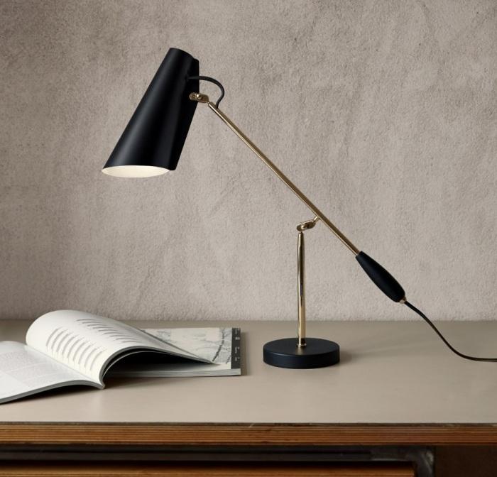 Lampe à poser, Birdy, noir, laiton, H43CM - Northern-Lighting