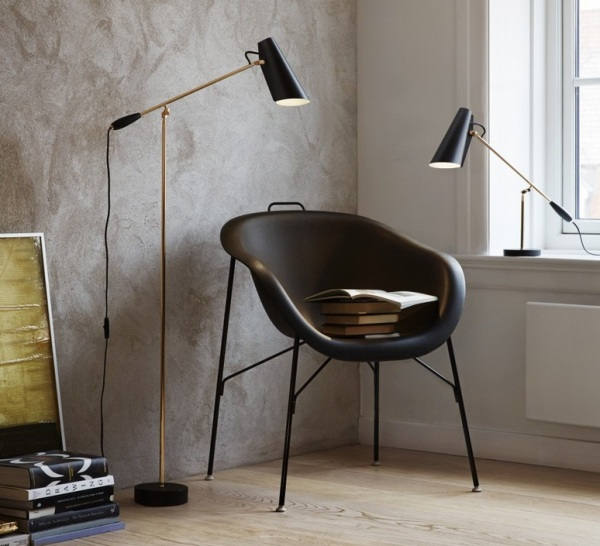 LAMPADAIRE, BIRDY, NOIR, LAITON, H133CM - NORTHERN-LIGHTING