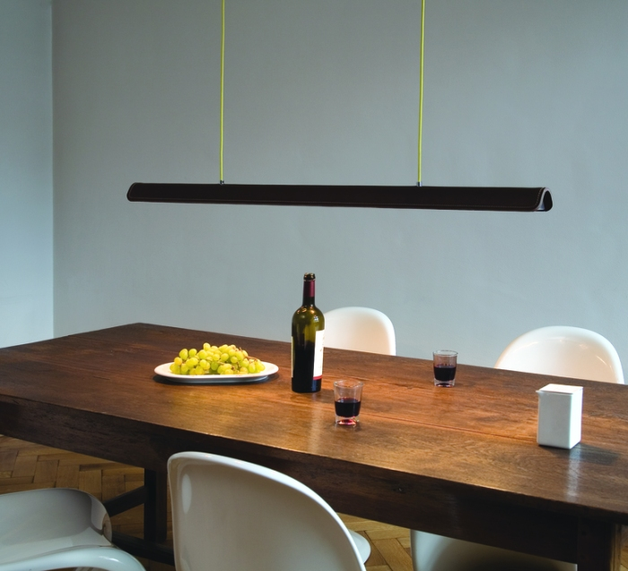 SUSPENSION, COHIBA, CUIR MARRON, L123CM - FORMAGENDA