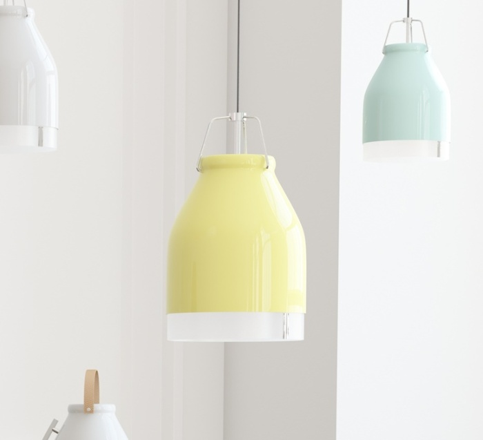 SUSPENSION, LED, WIFI, COWBELLE, JAUNE PASTEL, H30CM - ILOMIO