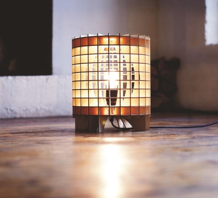 LAMPE À POSER, CRYPTEX, BOIS NATUREL, Ø29CM - MASSOW DESIGN