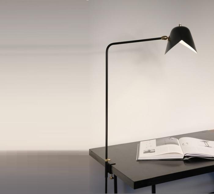 LAMPE DE BUREAU, AGRAFÉE SIMPLE, NOIR, H70CM - SERGE MOUILLE