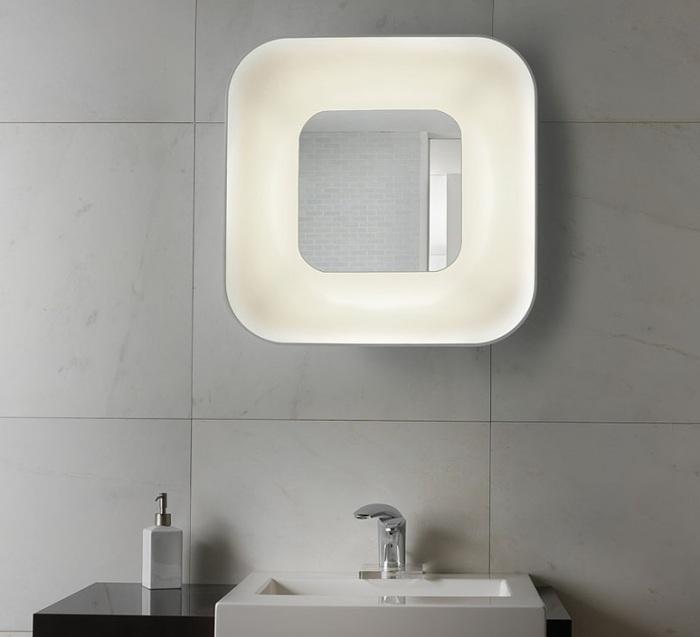 Applique murale de salle de bain, Parabola, blanc, miroir, H60cm - B-LUX