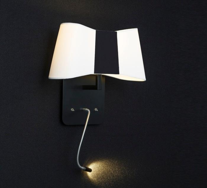 APPLIQUE MURALE, LED, LISEUSE, PETIT COUTURE, BLANC, NOIR, H33CM - DESIGNHEURE