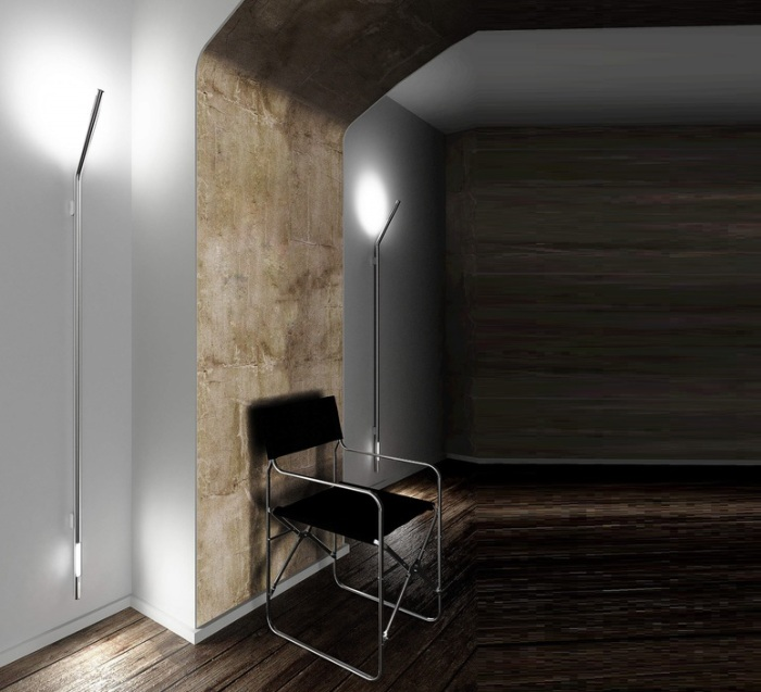 APPLIQUE MURALE, TUBE XL, CHROME, H175CM - LED - ZAVA