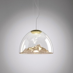 Lustre montagne, Mountain View, cristal, ambré, or, Ø55cm - Axo Light