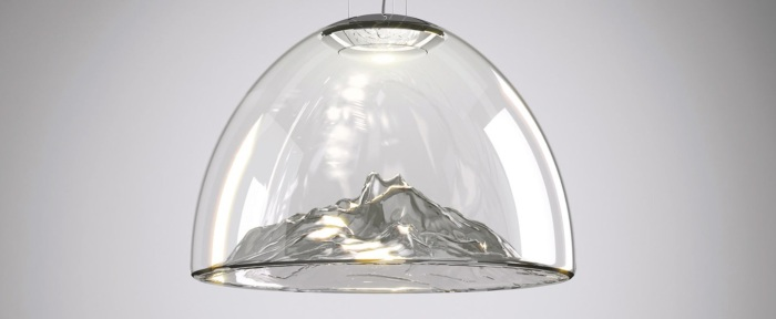 Lustre, Mountain View, cristal, gris, chrome, Ø55cm - Axo Light