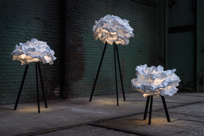 LAMPADAIRE, CLOUD-NUAGE, BLANC, H159CM, Ø90CM, PIEDS NOIRS - PROPLAMP
