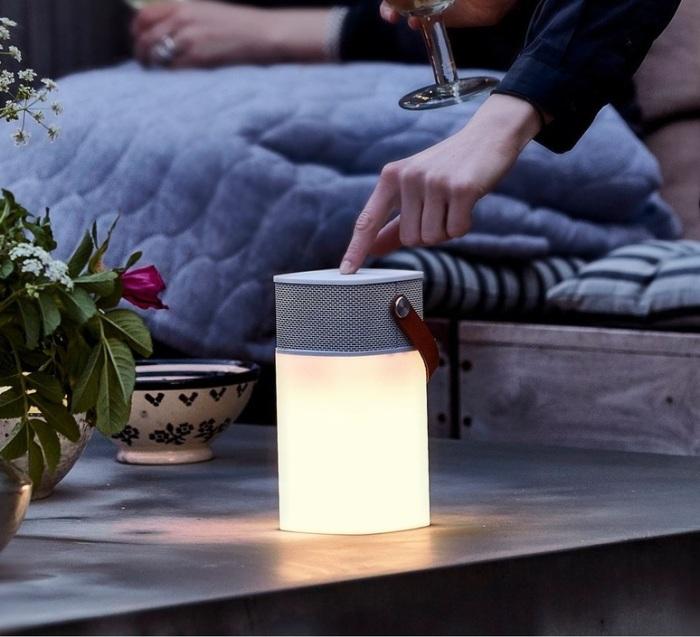 Lampe, haut-parleur, sans fil, d'extérieur, aGlow, LED, blanc, H19cm - Kreafunk