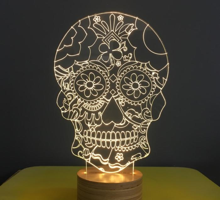 LAMPE À POSER, FLORAL SKULL, BLANC, L15CM, H23CM - STUDIO CHEHA