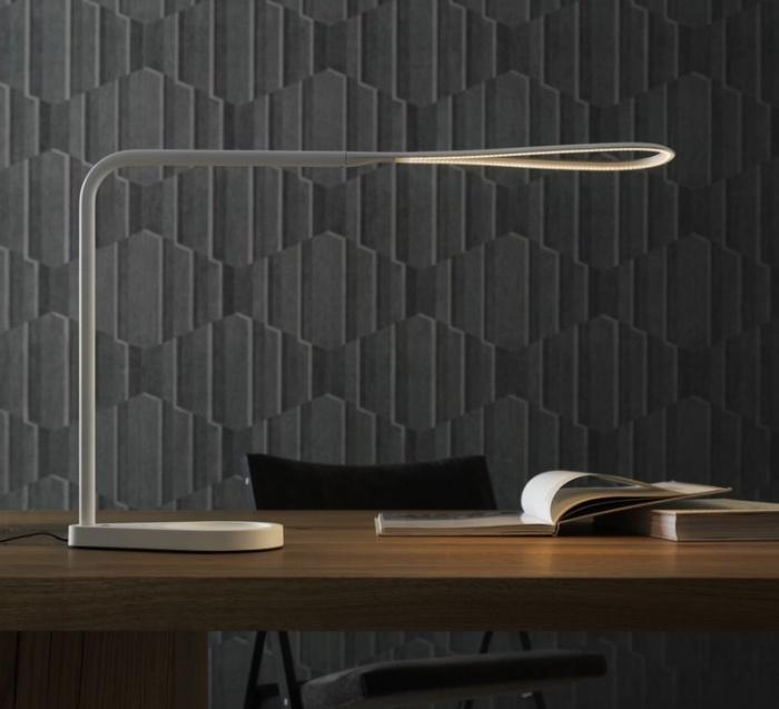 Lampe de bureau, Kinx, LED, port USB, blanc, H43cm - Fontana Arte