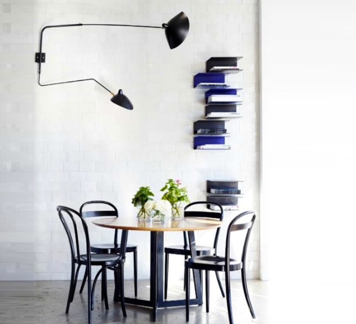 Applique murale, 2 bras pivotants, 1 courbe, noir, H70cm - Serge Mouille
