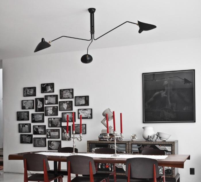 Plafonnier, 3 bras pivotants, noir, Ø135cm - Serge Mouille