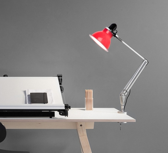 Lampe à pincer, Type 1228, rouge carmin, H53cm - ANGLEPOISE
