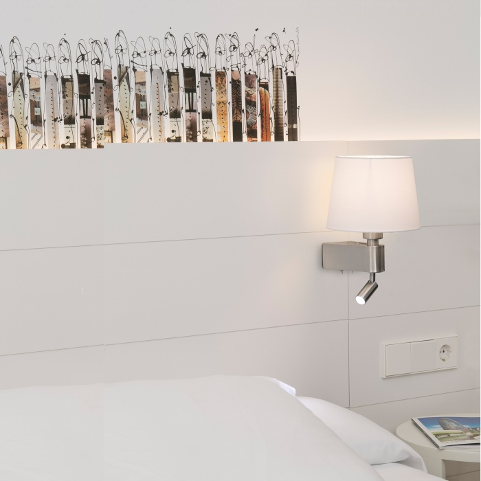 APPLIQUE MURALE, LISEUSE, DOUBLE INTERRUPTEUR, ROOM, BLANC, H29CM - FARO
