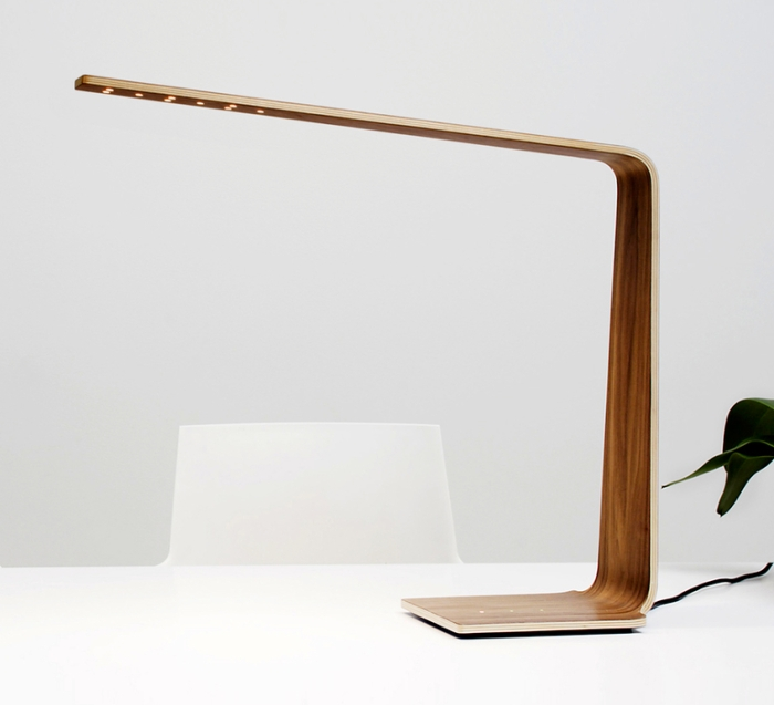 Lampe à poser, LED4, noyer, H52cm - TUNTO