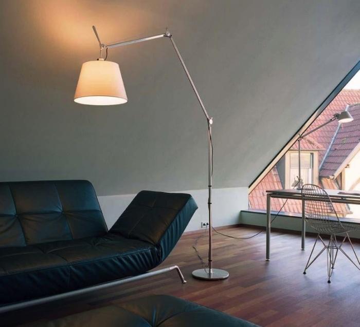 Lampadaire, Tolomeo Mega Terra, écru,dimmable, LED, H334cm, Ø33cm - Artemide