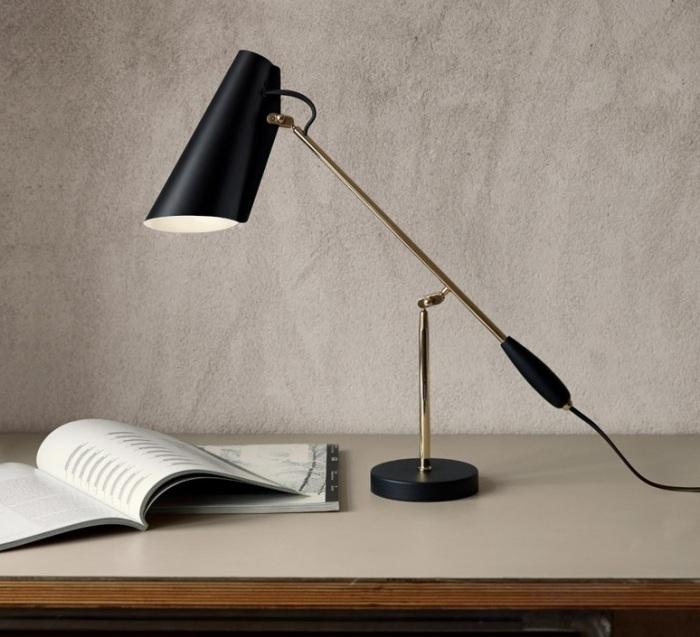 LAMPE À POSER, BIRDY, NOIR, LAITON, H43CM, L60CM - NORTHERN