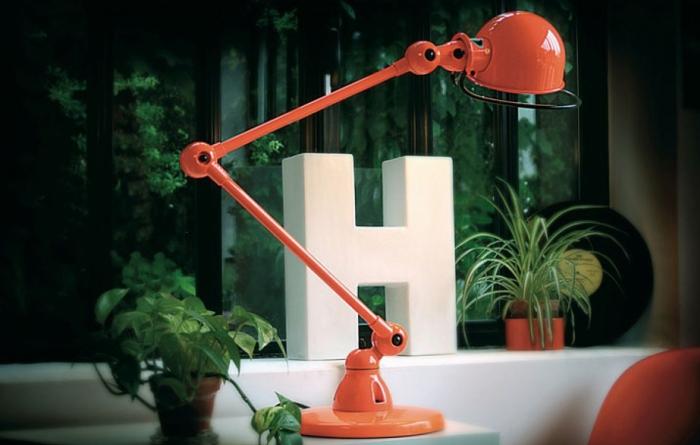Lampe à poser, 2 bras, Loft D6440, rouge, L80cm, H60cm - Jieldé