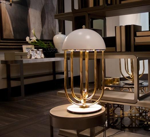 Lampe à poser, Turner, blanc, or, H60cm - DelightFull