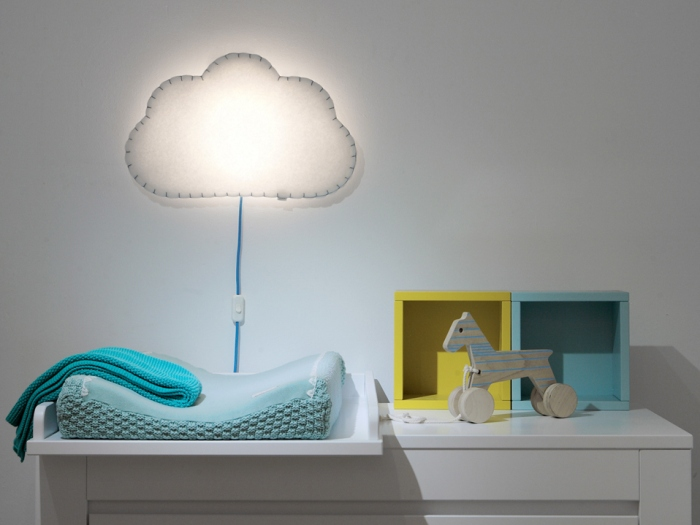 APPLIQUE MURALE, SOFT LIGHT, BLANC, BLEU, LED, L53CM, H34CM - BUOKIDS