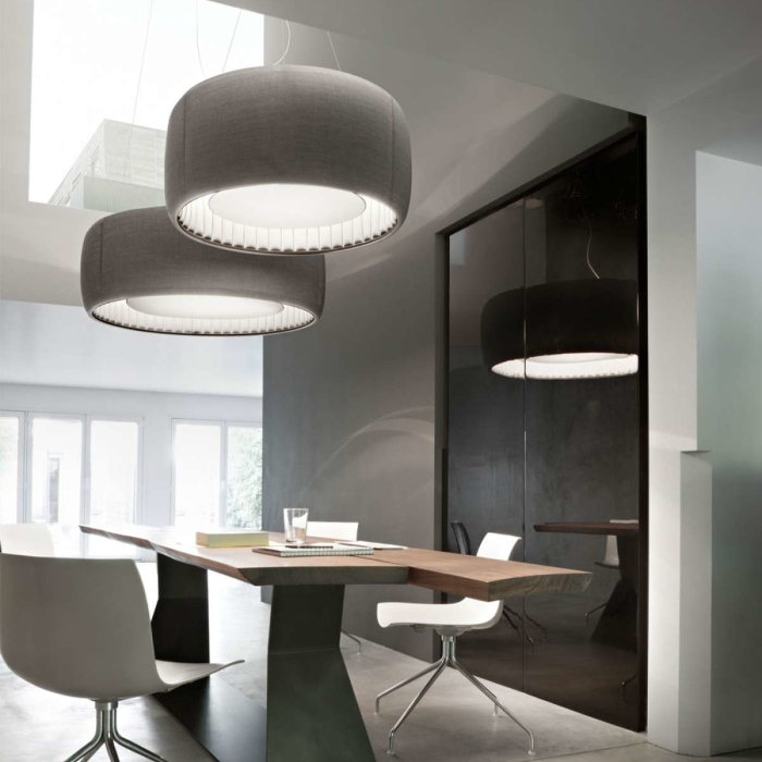 SUSPENSION, SILENZIO D79/90C, GRIS CLAIR, LED, Ø90CM, H45CM - LUCEPLAN