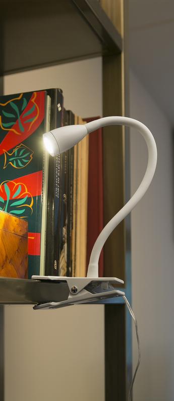 LAMPE PINCE, LOKE, BLANC, 3000K, 120LM, LED, Ø6CM, H24CM - FARO