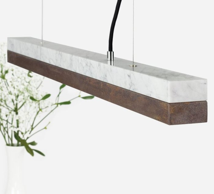 SUSPENSION, [C2M], MARBRE BLANC, MARRON, LED, Ø92CM, H7CM - GANTLIGHTS
