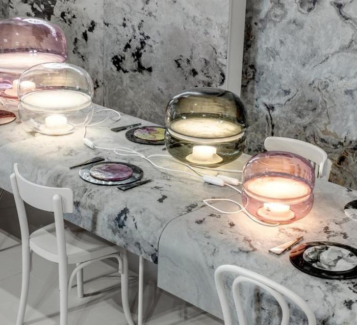 LAMPE À POSER, MACARON S, VERRE ROSE TRANSPARENT, BASE BLANCHE, LED, Ø30CM, H25,2CM - BROKIS