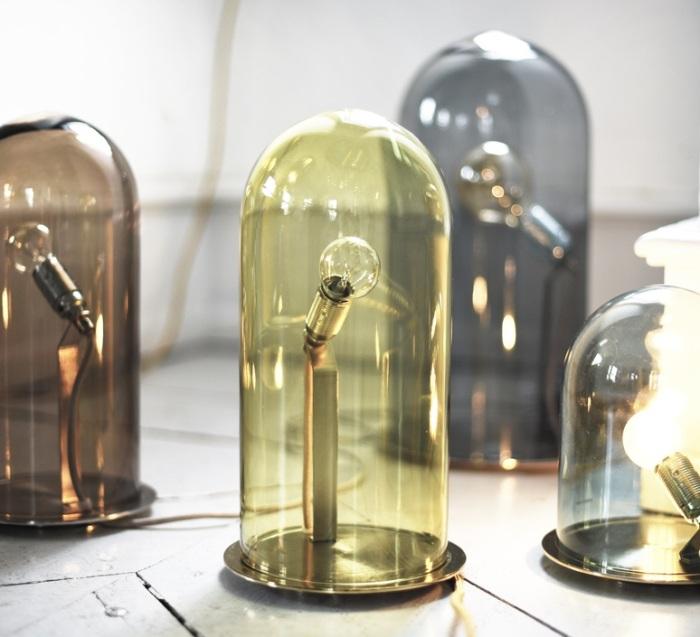 LAMPE CLOCHE, SPEAK UP!, OLIVE FUMÉ, BASE LAITON, H42CM - EBB AND FLOW
