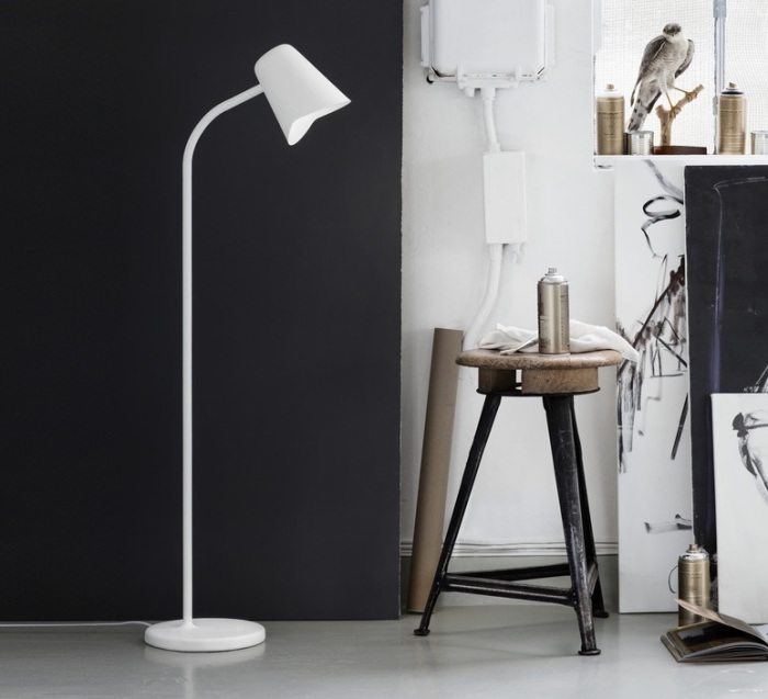 LAMPADAIRE, ME, BLANC, H130CM - NORTHERN