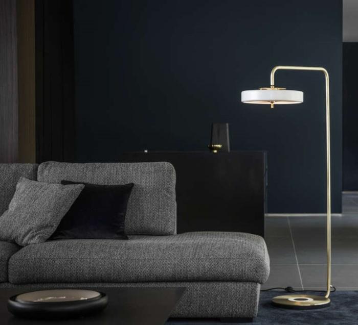 LAMPADAIRE, REVOLVE, BLANC, OR, LED, Ø35CM, H140CM - BERT FRANK