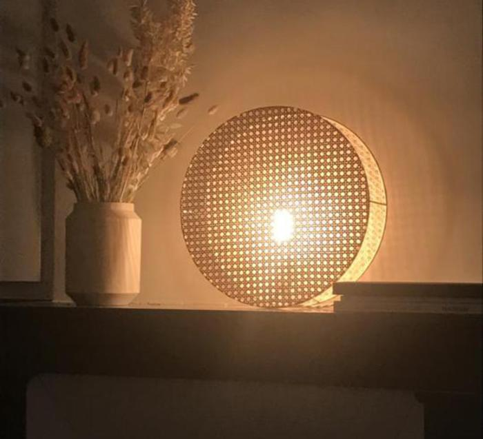 APPLIQUE MURALE, LAMPE À POSER, MOON 25, CANNAGE NATUREL, Ø25CM, H8CM - AN°SO
