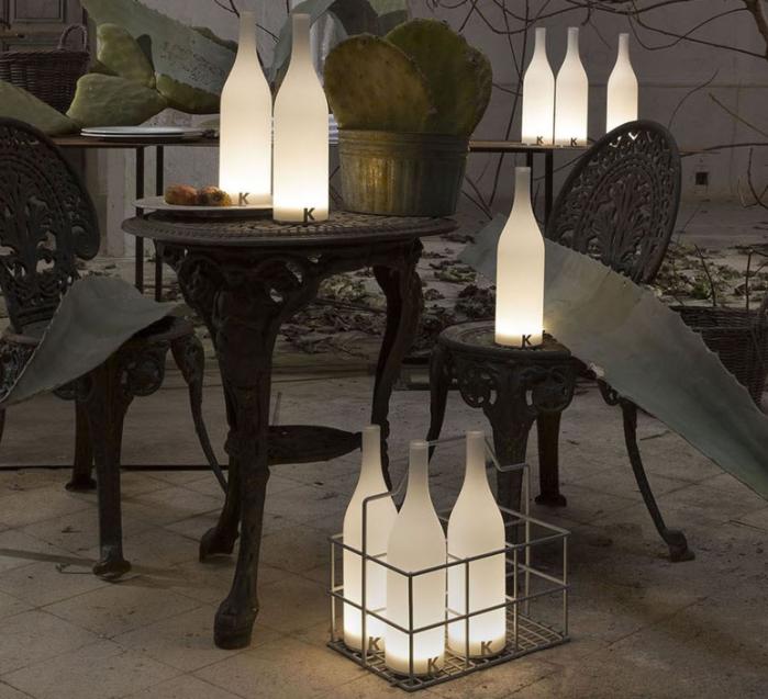 LAMPE À POSER, BOUTEILLE, BACCO, BLANC, LED, Ø9CM, H34CM - KARMAN