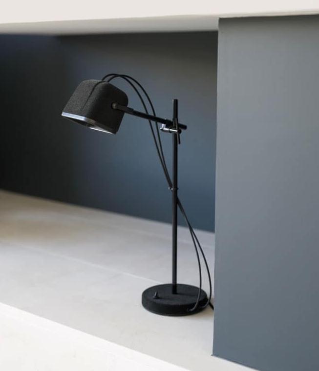 LAMPE À POSER, MOB, VELOURS NOIR, H55CM - SWABDESIGN